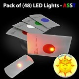 Pack of (48) Flat LED Disc Golf Lights - Assorted Colors + Sun King Sticker